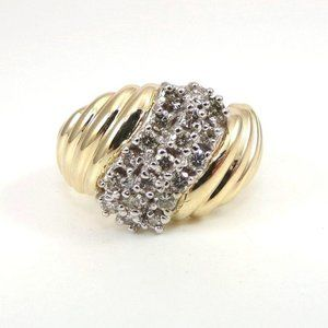 Heavy Solid 14K Gold 0.50TCW Diamond Journey Ring